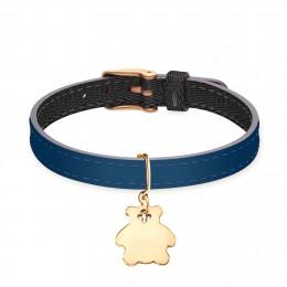 Bracelet en cuir bicolore avec un ourson plaqué or