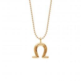 Collier Balance, plaqué or, chaîne maille boule