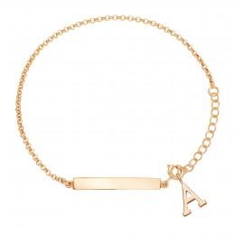 Bracelet avec plaque identité et lettre A, plaqué or