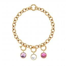 Bracelet Chaîne No.1 avec pendentifs quartz violet, blanc et rose