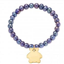 Bracelet en petites perles foncées avec un ourson plaqué or