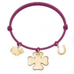 Bracelet avec éléphant, trèfle et fer à cheval plaqués or sur un cordon épais de couleur fuchsia
