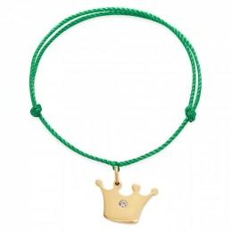 Bracelet avec une couronne Princess plaquée or sur un cordon épais vert premium
