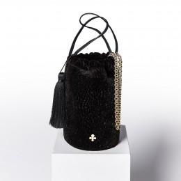 Mini sac Maia, noir, finitions métal doré