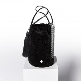 Mini sac Maia, noir, finitions métal argenté