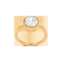 Bague avec quartz blanc, plaqué or