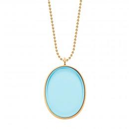Collier avec médaillon plaqué or, rehaussé d'un cristal Bohème bleu clair, sur une chaîne maille boules