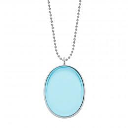 Collier avec médaillon en argent, rehaussé d'un cristal Bohème bleu clair, sur une chaîne maille boules