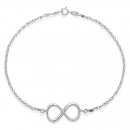 Bracelet chaîne avec un signe de l'infini en argent