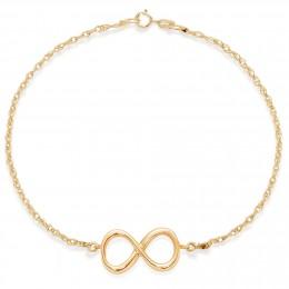 Bracelet chaîne avec un signe de l'infini plaqué or