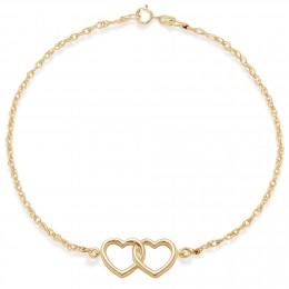 Bracelet chaîne avec deux cœurs joints plaqués or