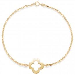 Bracelet chaîne avec un trèfle ajouré plaqué or