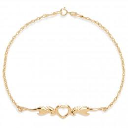 Bracelet chaîne avec un cœur enflammé plaqué or