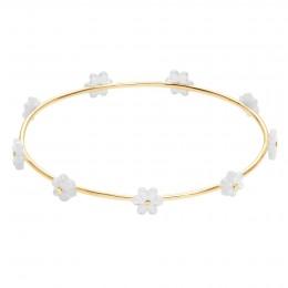 Bracelet Flowers plaqué or avec myosotis en nacre