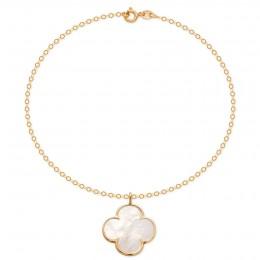 Bracelet avec trèfle en nacre bordé d'or sur  chaîne en or 14 carats