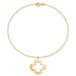 Bracelet avec trèfle ajouré sur chaîne en or 14 carats