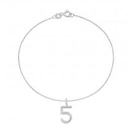 Bracelet SAGESSE, numéro 5 sur chaîne fine, plaqué argent