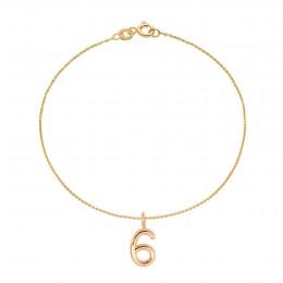 Bracelet REVES, numéro 6 sur chaîne fine, plaqué or
