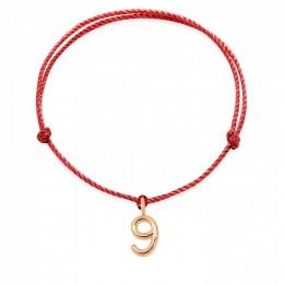 Bracelet AMOUR, numéro 9 sur cordon rouge, plaqué or