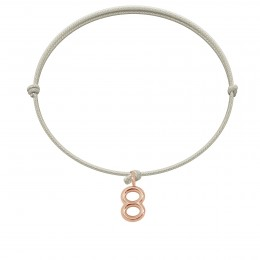 Bracelet ESPOIR, numéro 8 sur cordon perle, rose plaqué or