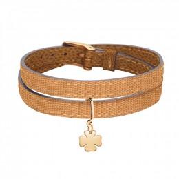 Bracelet en cuir avec un trèfle doré