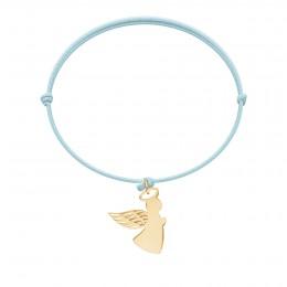Bracelet avec ange aile ajourée 1,5 cm, plaqué or, sur cordon fin bleu ciel