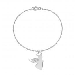 Bracelet avec ange aile ajourée 1,5 cm sur chaîne fine classique, argent
