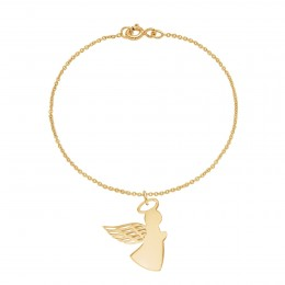 Bracelet avec ange aile ajourée 2 cm sur chaîne fine classique, plaqué or