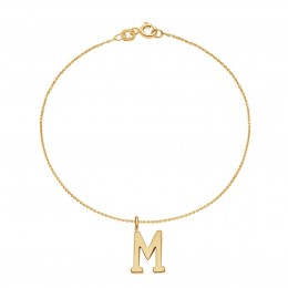 Bracelet avec lettre M sur chaine fine plaqué or