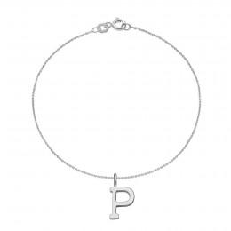 Bracelet avec lettre P plaquée argent, sur chaine fine