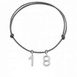 Bracelet Numéro 18 sur cordon noir, plaqué argent