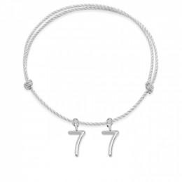 Bracelet Numéro 77 sur cordon argenté, plaqué argent