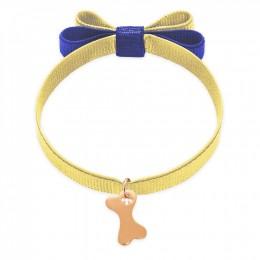 Bracelet ruban double nœud de couleur jaune avec un os plaqué or