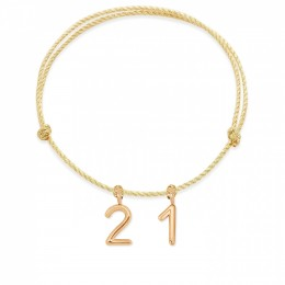 Bracelet Numéro 21 sur cordon doré, plaqué or