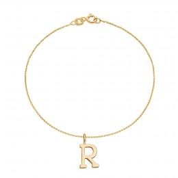 Bracelet avec lettre R sur chaine fine plaqué or