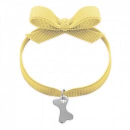 Bracelet ruban de couleur jaune avec un os en argent
