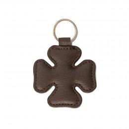 Porte-clé en forme de trèfle, brun, anneau couleur or