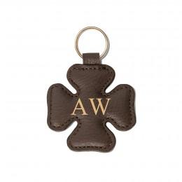 Porte-clé personnalisé en forme de trèfle, brun, anneau couleur or