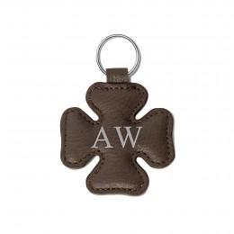 Porte-clé personnalisé en forme de trèfle, brun, anneau couleur argent