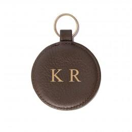 Porte-clé personnalisé en forme de médaillon, brun, anneau couleur or