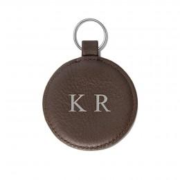 Porte-clé personnalisé en forme de médaillon, brun, anneau couleur argent