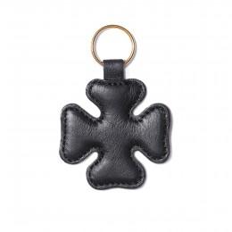 Porte-clé en forme de trèfle, noir, anneau couleur or