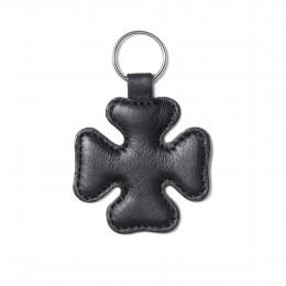 Porte-clé en forme de trèfle, noir, anneau couleur argent