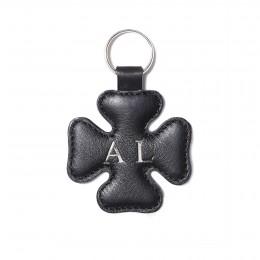 Porte-clé personnalisé en forme de trèfle, noir, anneau couleur argent