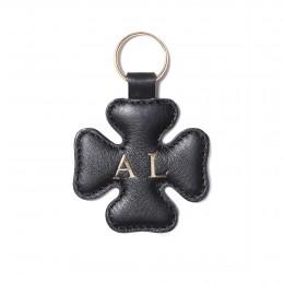 Porte-clé personnalisé en forme de trèfle, noir, anneau couleur or