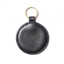 Porte-clé en forme de médaillon, noir, anneau couleur or
