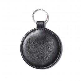 Porte-clé en forme de médaillon, noir, anneau couleur argent