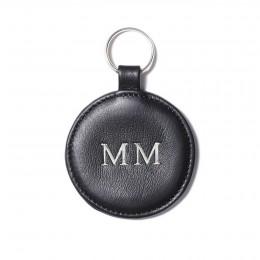 Porte-clé personnalisé en forme de médaillon, noir, anneau couleur argent