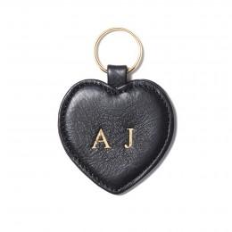 Porte-clé personnalisé en forme de cœur, noir, anneau couleur or