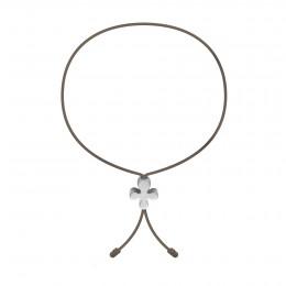Bracelet avec Clover Lock en or blanc poinçon 585 sur un cordon fin de couleur de cappuccino foncé